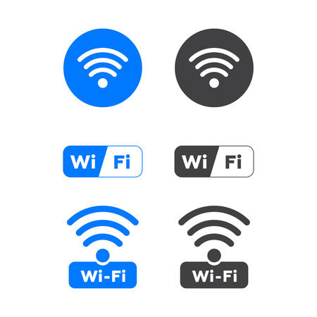 Wireless and wifi icons. Wireless Network Symbol wifi icon. Wireless and wifi vector.  イラスト・ベクター素材
