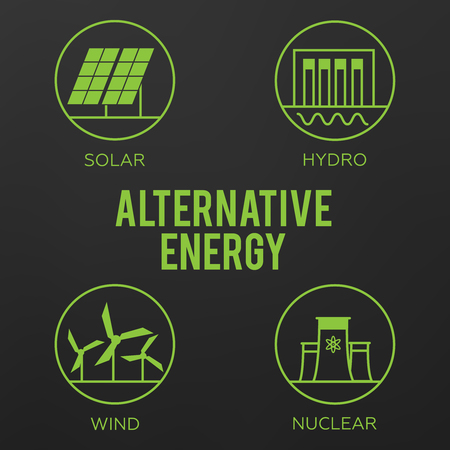 Renewable energy vector illustration. Renewable energy concept in flat style. Energy solar and wind power.  イラスト・ベクター素材