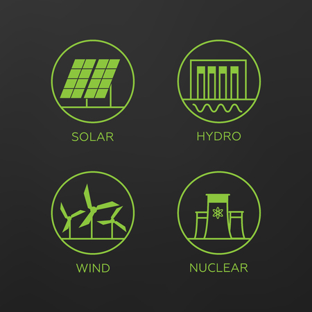 Renewable energy vector illustration. Renewable energy concept in flat style. Energy solar and wind power  Illustration