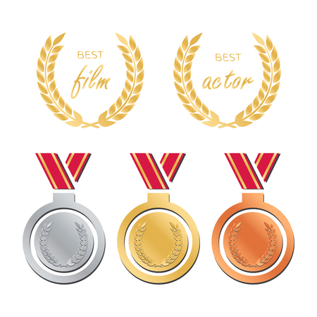 Awards for best film. Award nomination vector. Medal award for best movie. 向量圖像