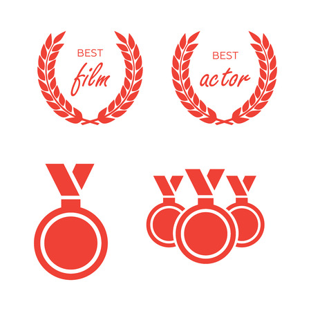 Vector gold award laurel wreath. Winner label, leaf symbol victory. Illustration