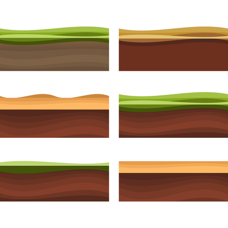 Seamless grounds, soil and grass for ui game illustration of a set of various seamless grounds. Ground grass game vector.