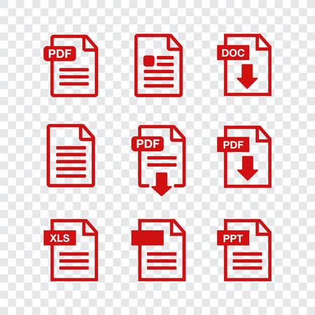ドキュメント アイコンセット。ファイルアイコン。PDFファイルのダウンロードアイコン