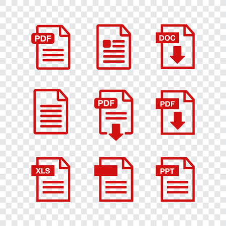 Document icon set. File Icons. PDF file download icon