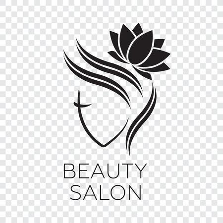 ヘアサロンのための美しい女性ベクトルロゴテンプレート。ロゴベクトル化粧品手順、スパセンター  イラスト・ベクター素材