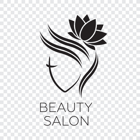 Beautiful woman vector logo template for hair salon. Logo vector cosmetic procedures, spa center