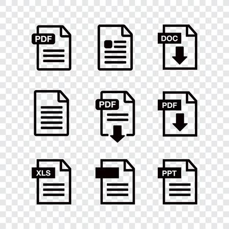 アイコン用紙ファイル。ファイルアイコン。ドキュメント アイコン セット
