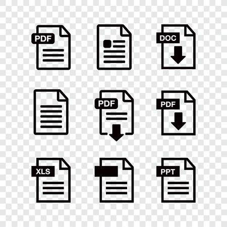 Icon paper file. File Icons. Document icon set Illustration