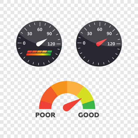 Guage icon. Credit score indicators and gauges vector set. Score vector icon Çizim
