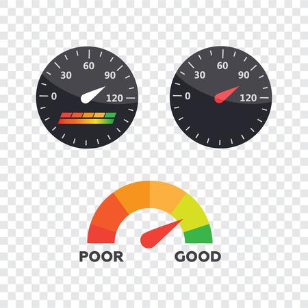 Guage-Symbol. Kredit-Score-Indikatoren und Messgeräte Vektor festgelegt. Score-Vektor-Symbol Standard-Bild - 93788719