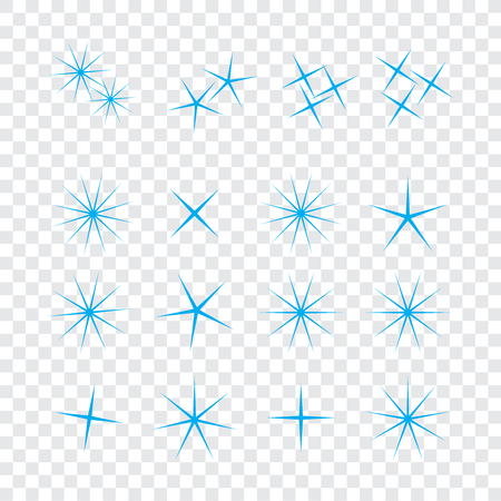 Sparkle lights stars set. Bright firework, decoration twinkle, shiny flash