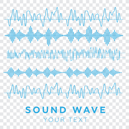 Sound waves concept. Sound waves vector. Sound waves sign and symbol in flat style Illusztráció