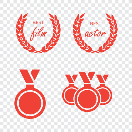 Vector gold award laurel wreath. Winner label, leaf symbol victory. Gold award vector