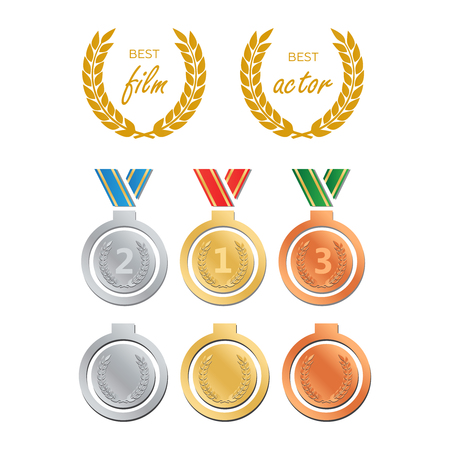 Awards for best film. Award nomination vector. Medal award for best movie