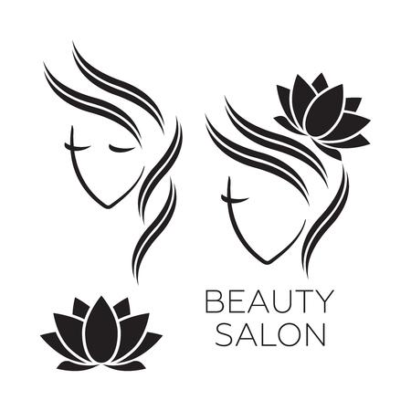 Beautiful woman icon template for hair salon, beauty salon, cosmetic.
