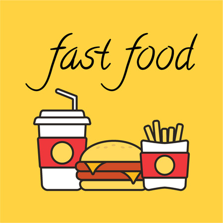 Fast food snacks and drinks flat vector icons. Fast food icons. Snack bag vector food.