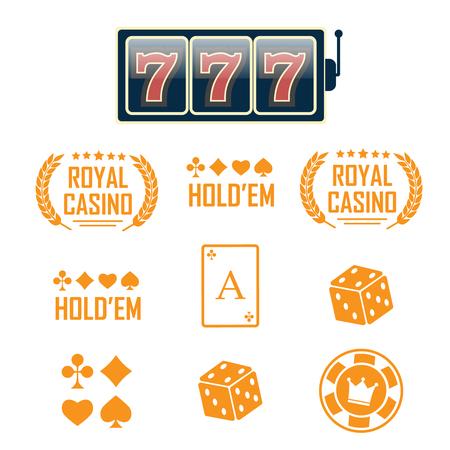 Casino vector sign set. Slot machine symbols vector Illusztráció