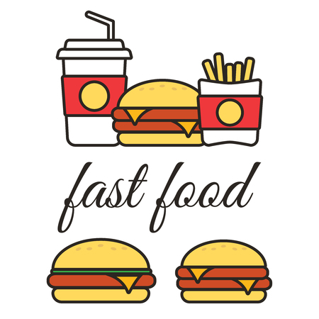 Fast food snacks and drinks flat vector icons. Illustration