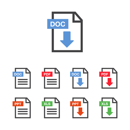 Document icon set. File Icons. PDF file download icon Reklamní fotografie - 95369463
