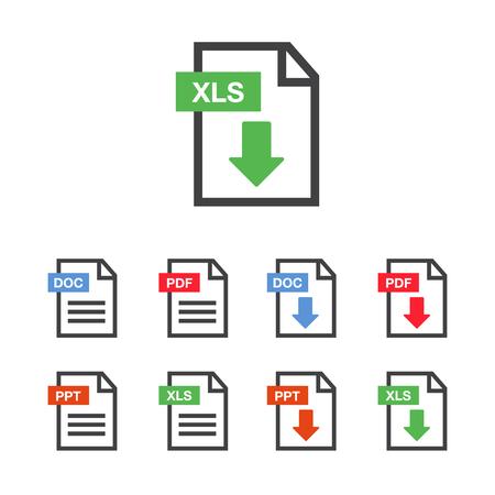 File Icons line style illustration. Document icon set. Illustration