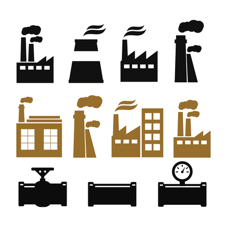 Pipe fittings vector icons set. Tube industry, construction pipeline, drain system. Vettoriali