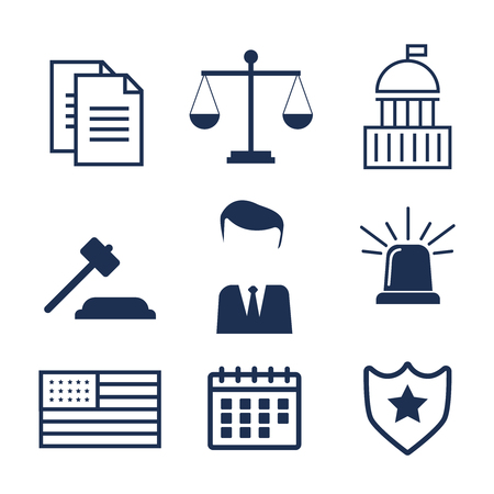 Lawyer concept like lawyer, sirens and scales. Lawyer icons in flat style. Lawyer sign and symbol vector. Lawyer set illustration Illustration