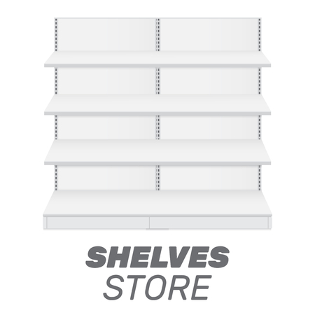 Shop shelves isolated. Store shelves vector. Retail shelves vector illustration Çizim