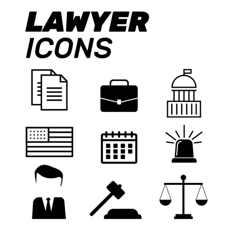 Lawyer concept. Lawyer icons in flat style. Lawyer sign and symbol vector. Lawyer set illustration