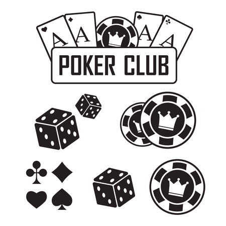 Lucky seven jackpot. Poker club and casino vector sign set Illustration