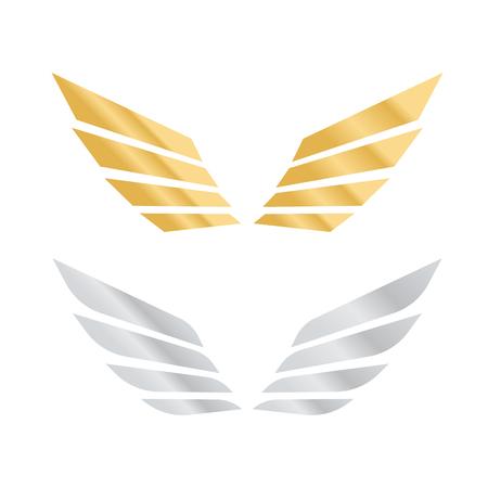 Aquila ali vettoriale. Ali angelo isolato. Insieme di arte del fumetto delle ali di uccello Archivio Fotografico - 98211109