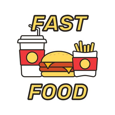 Fast food snacks and drinks icon Illustration