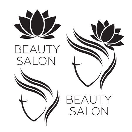 Beautiful woman icon template for hair salon, beauty salon, cosmetic.