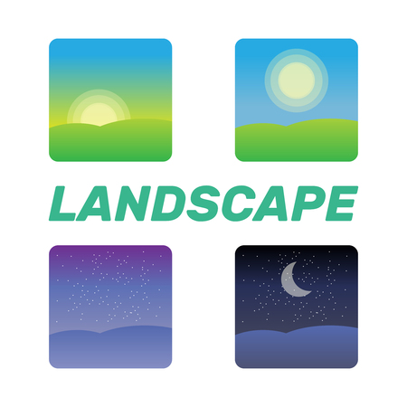 Nature landscape at times of day. Icons morning, night cycle  Stock Illustratie