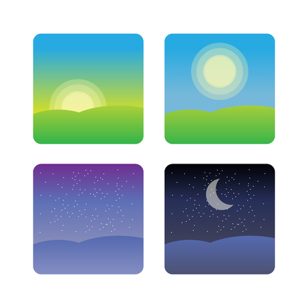 Nature landscape at times of day. Icons morning, night cycle   イラスト・ベクター素材