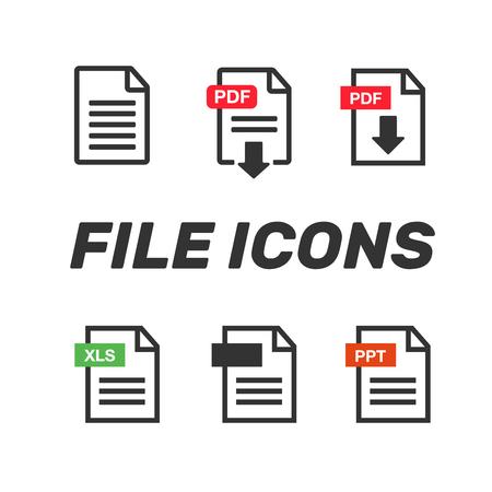 File icons document icon set. File icons line style illustration. Illustration