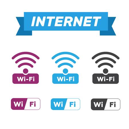 Wireless network symbol icon vector set.
