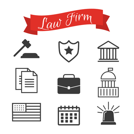 Lawyer concept. Lawyer icons in flat style. Lawyer sign and symbol vector. Lawyer set illustration 免版税图像 - 100296771