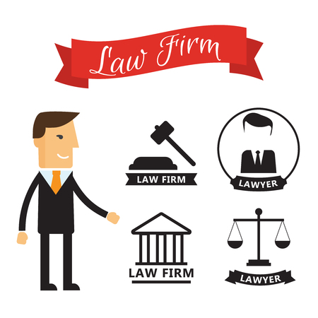 Lawyer concept. Lawyer icons in flat style with ribbon. Stock Illustratie