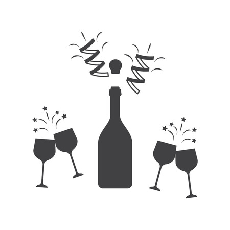 Champagne bottle icon. Wine glass bottle. Champagne party vector