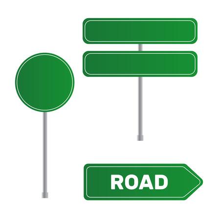 Road green traffic sign. Board sign traffic. Highway or street city sign vector Illusztráció