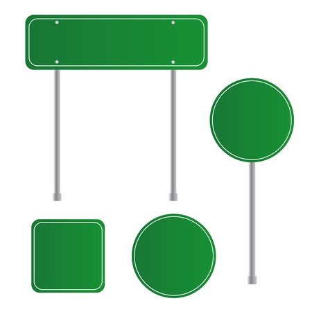 Road green traffic sign. Board sign traffic. Highway or street city sign.