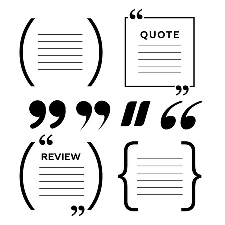 Quotes icon set on white background. Vector Illustration. Illustration