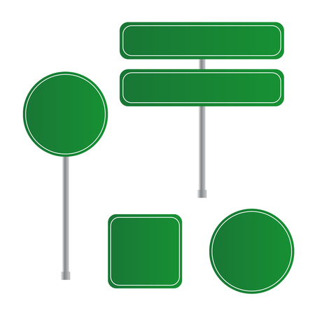 Road green traffic sign. Board sign traffic. Highway or street c