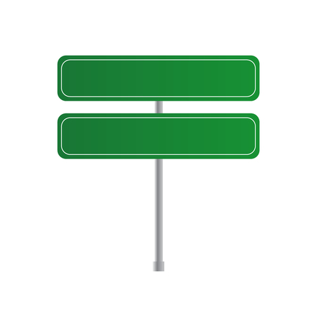 Road green traffic sign. Board sign traffic. Highway or street city sign vector Çizim