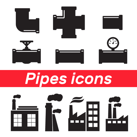 Set of metallic copper sewer pipes. Copper pipes vector set Illustration