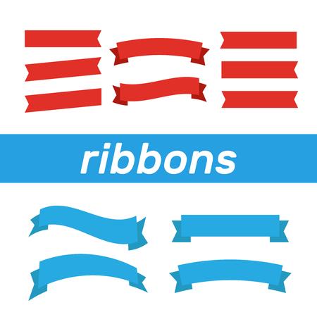 Set of ribbons for anniversary. Banner ribbon vector