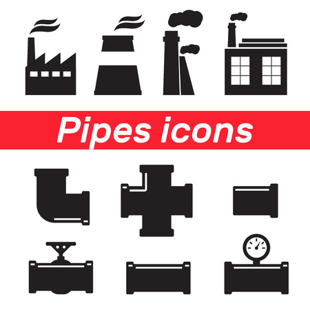 Tubes and pipeline details with cranes. Pipe fittings vector icons set