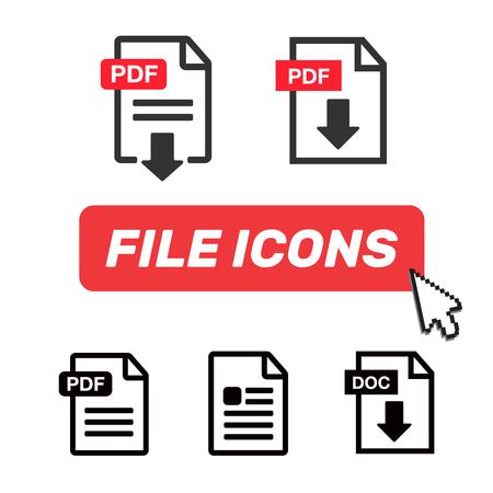 Document icon set. File Icons. PDF file download icon