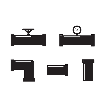 Water pipes and taps vector silhouette. Pipe fittings vector icons set 일러스트