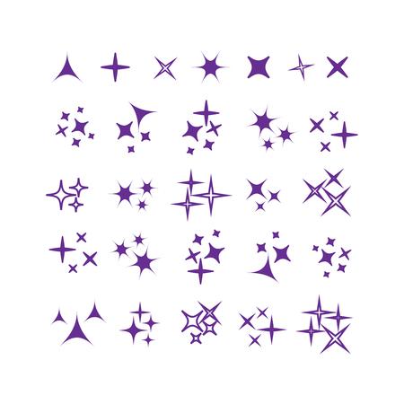 Sparkles icon set. Star element. Sparkle lights vector